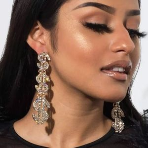 Jewelry - New Icy Diamond Silver Dollar Sign Party Earrings